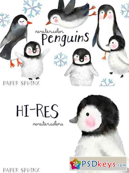Watercolor Penguins Clipart 2205007