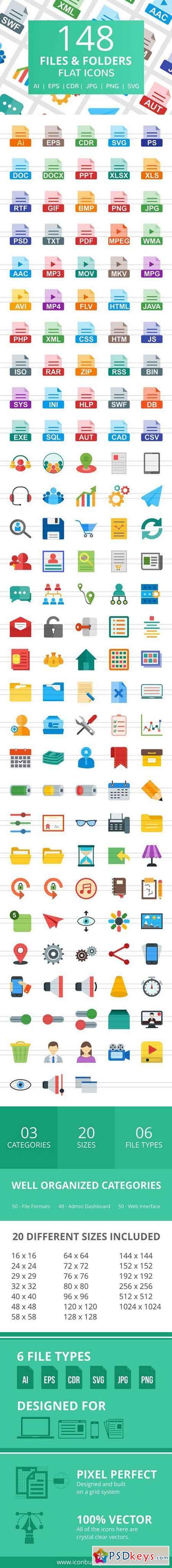 148 Files & Folders Flat Icons 2185435