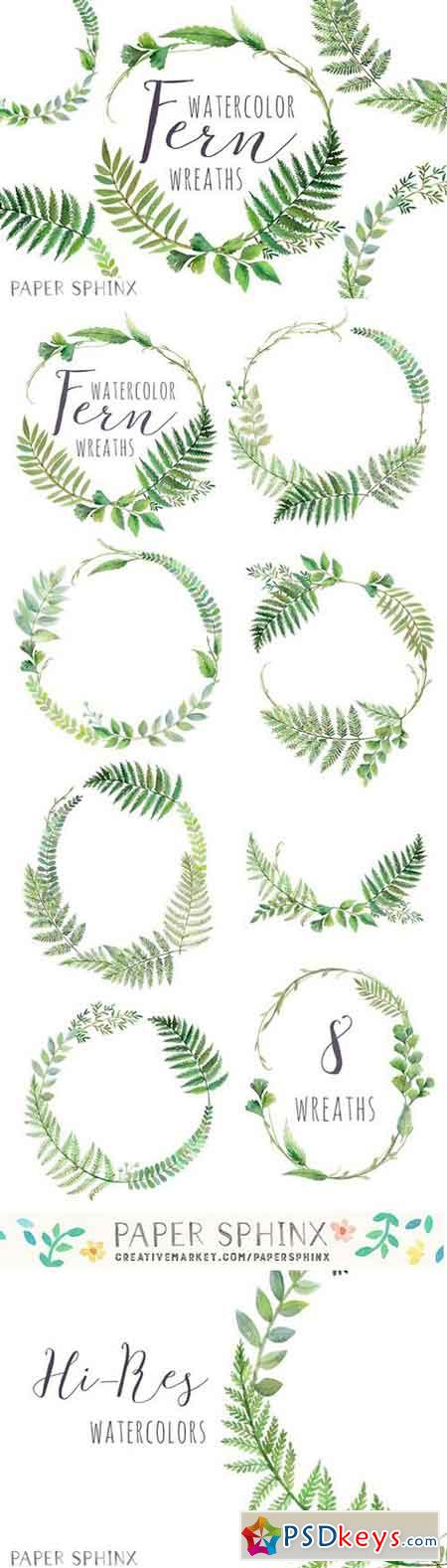 Watercolor Fern Wreaths 2205010