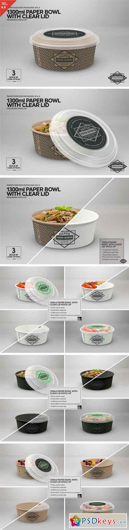 1300ml Paper Bowl Clear Lid MockUp 2181793