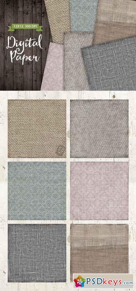 6 Texture Fabric Papers Set 2140531