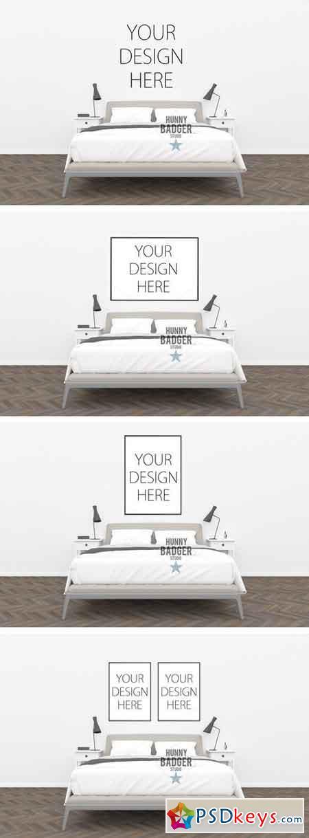 Bedroom mockup - poster mockup 1498592