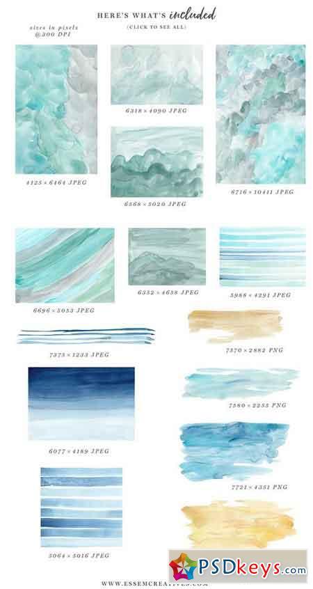 Ocean & Beach Watercolor Backgrounds 1487491