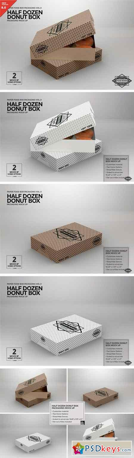 Half Dozen Donut Box Mock Up 2181807