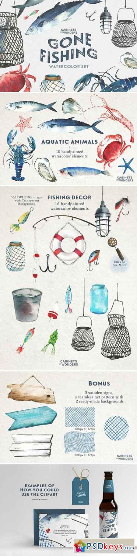 Gone Fishing Watercolor Clip arts 2223864