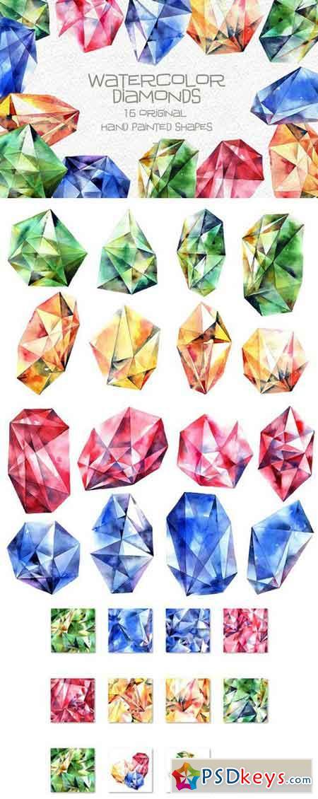 Watercolor diamonds set 2225654