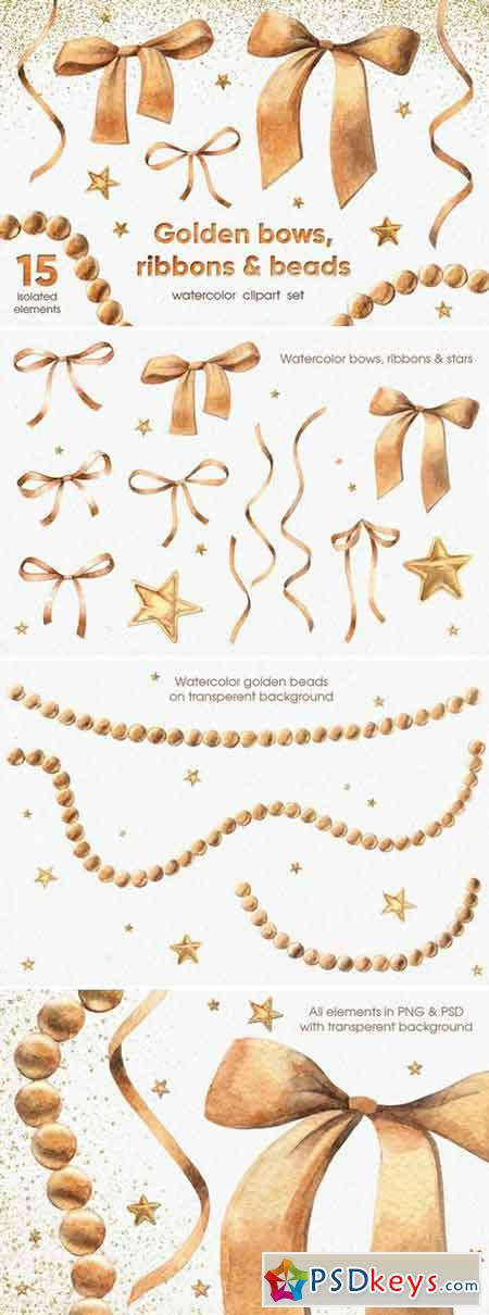 Golden Bows, Ribbons & Beads 2203042