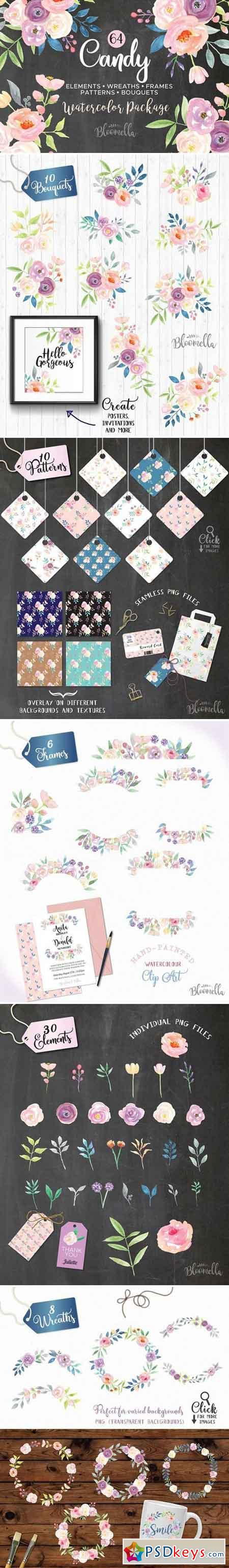 Candy Pastel Watercolor Flower Pack 2227773