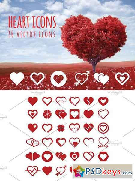 HEART - 36 vector icons 2204445