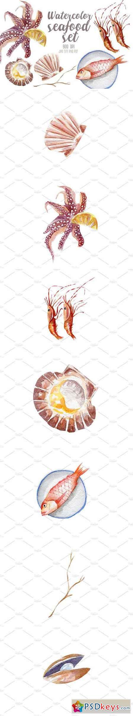 Watercolor seafood set 2230829