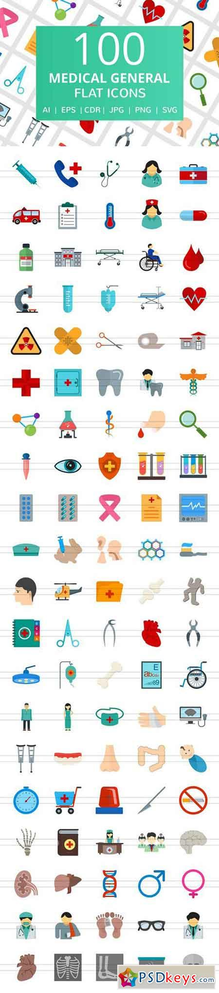 100 Medical General Flat Icons 2185400