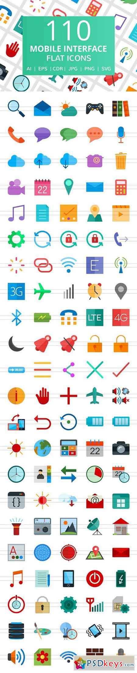 111 Mobile Interface Flat Icons 2185404
