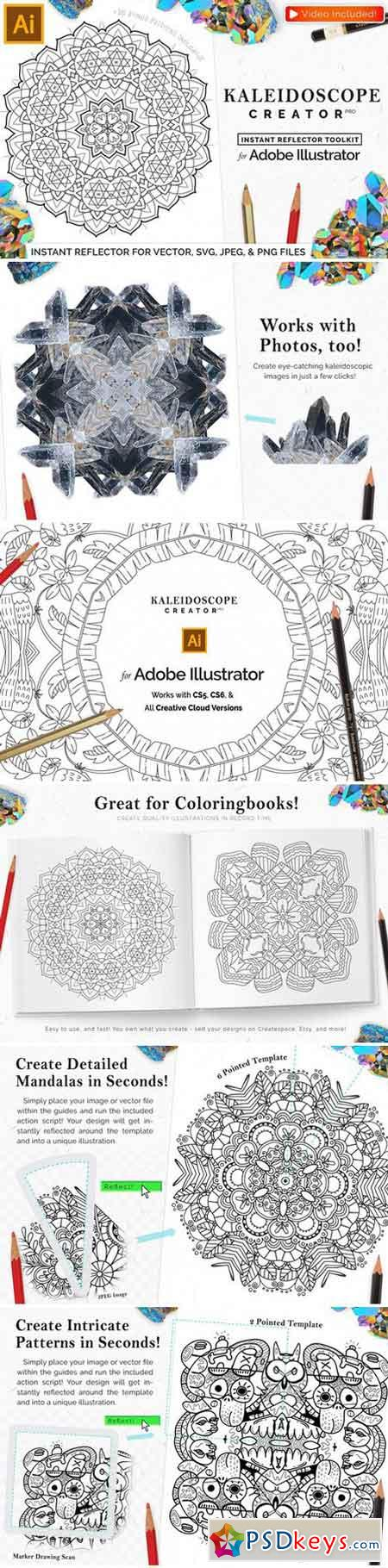 Vector Kaleidoscope for Adobe Ai 2225385