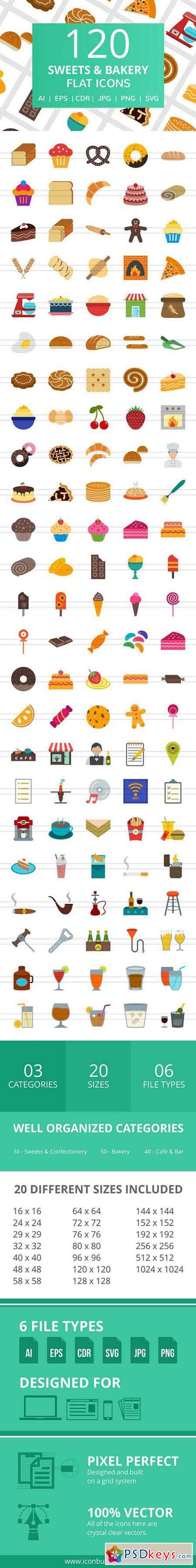 120 Sweets & Bakery Flat Icons 2185408