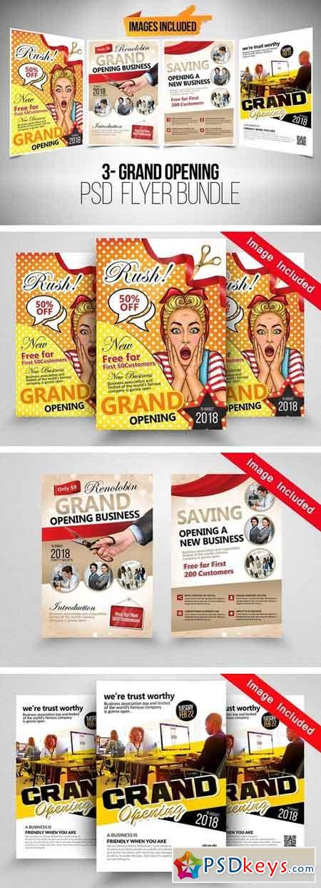 3 Grand Opening Flyer Bundle 1965761