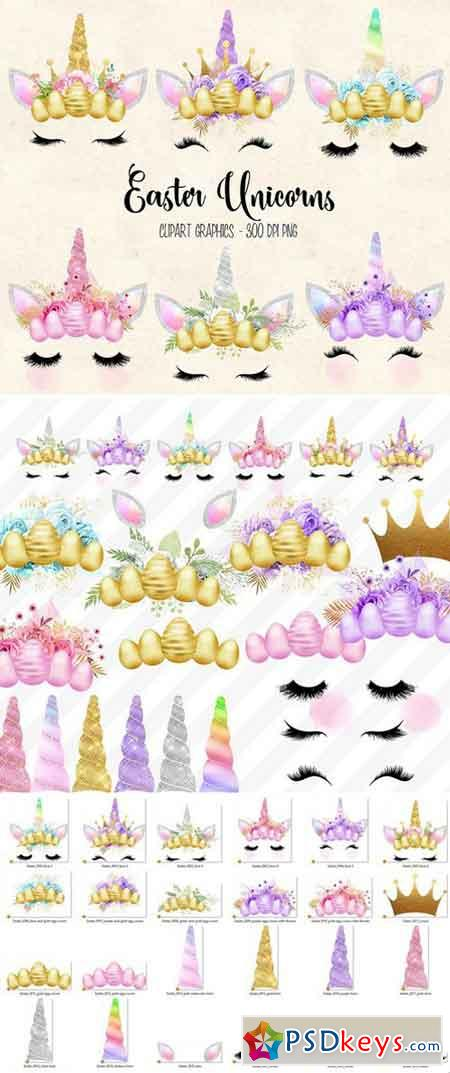 Easter Unicorn Faces clipart 2228328