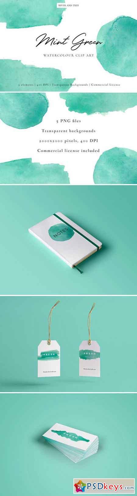 Mint Green Watercolour Clip Art 2232257