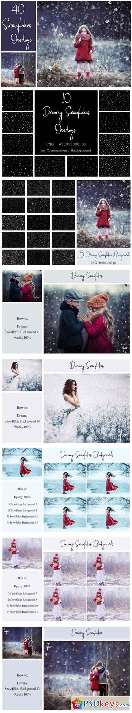 40 Dreamy Snowflakes PNG Overlays 2185552