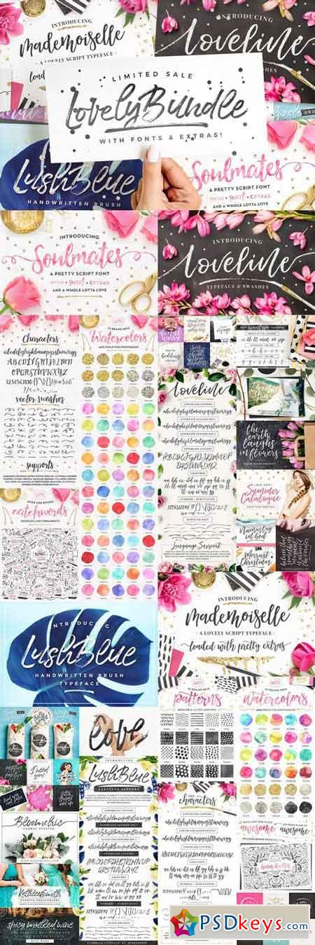 The Lovely Bundle I Fonts + EXTRAS! 2093009