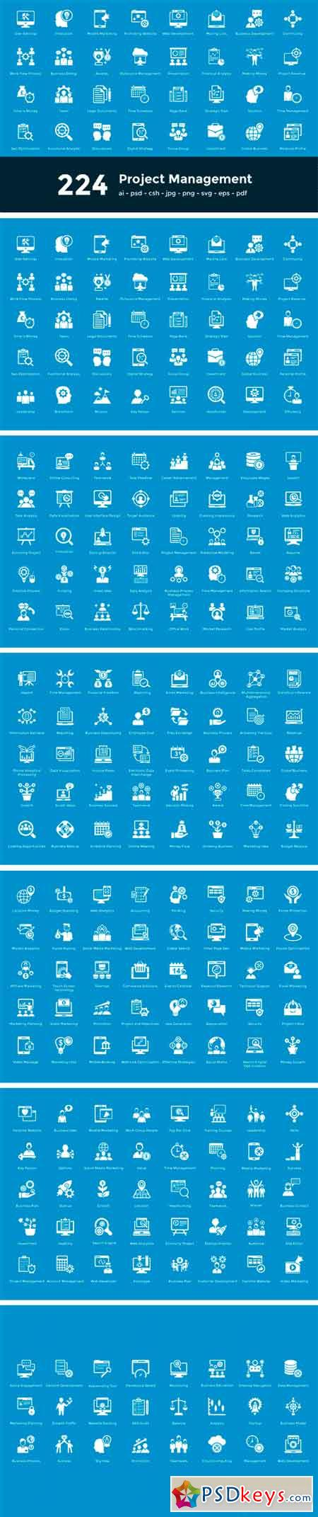 224 Project Managment Vector Icons 2194476