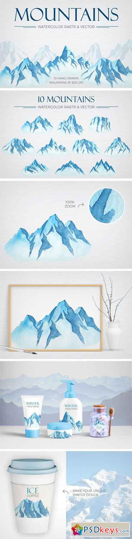 Watercolor Winter Mountains 2249134