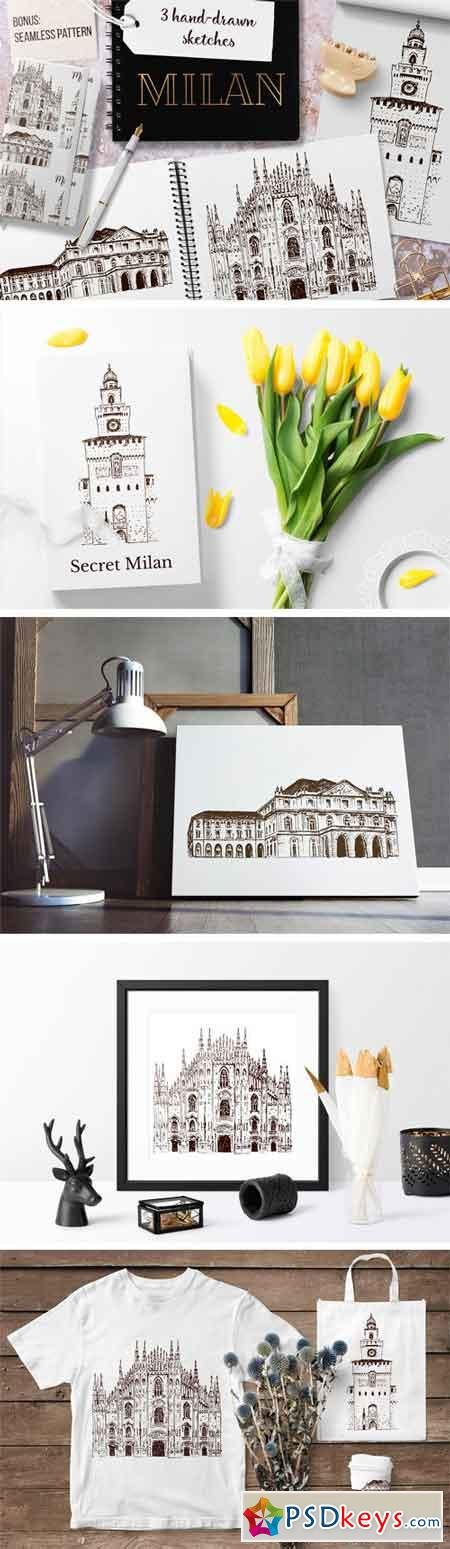 Set of Milan Sketches 2182226