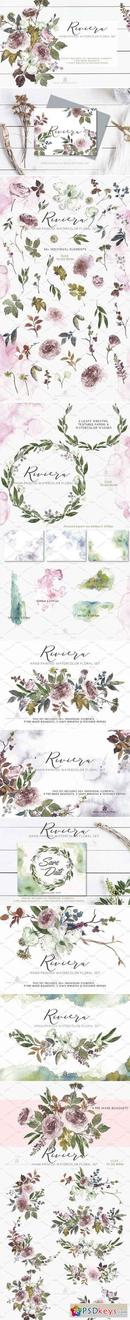 Riviera - Hand-painted Watercolor 2257837