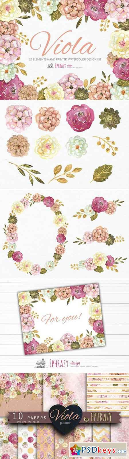 Viola Floral bundle Cliparts paper 2225736