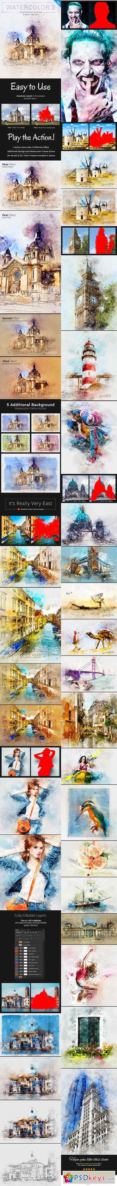 Watercolor 2 Artist Photoshop Action 21313459 » Free