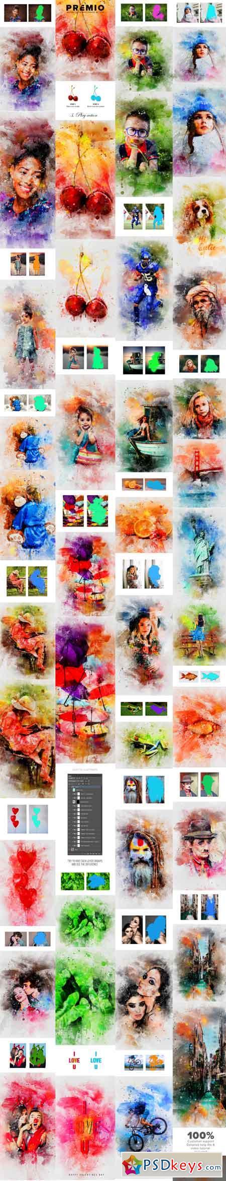 Premio Watercolor Photoshop Action 21337741