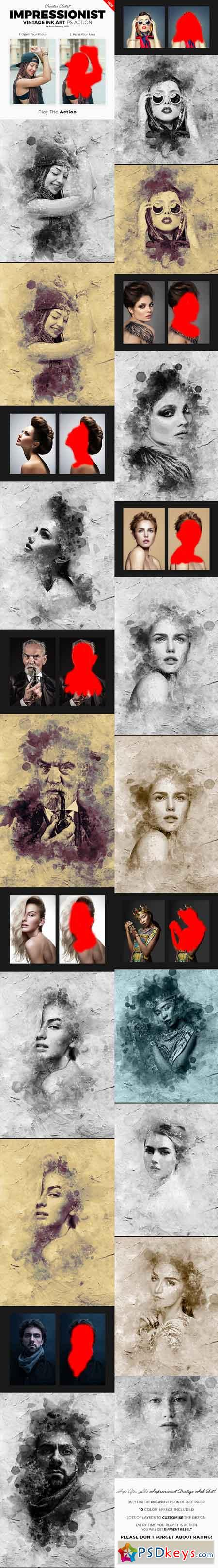 Impressionist Vintage Ink Art Photoshop Action 21359978