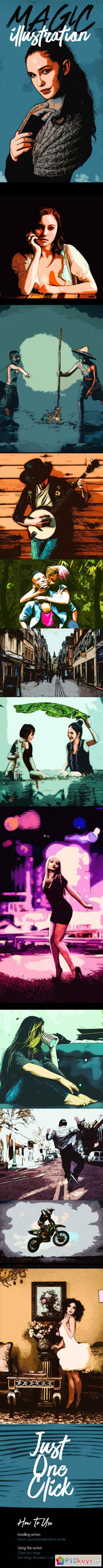 Magic Illustration Photoshop Action 21379489