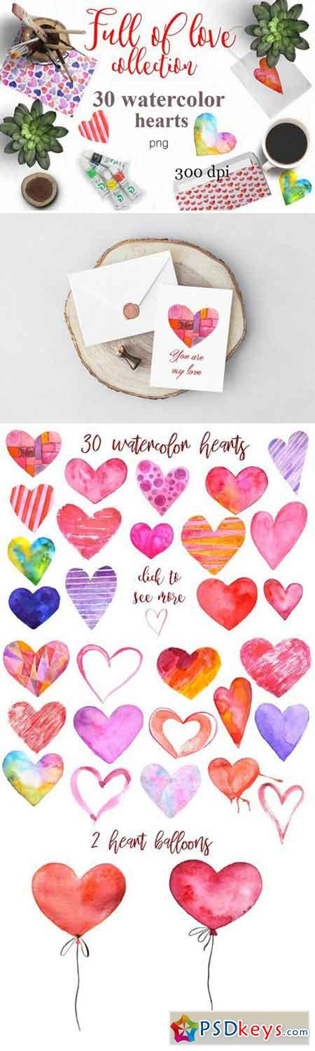 Watercolor hearts Valentine's set 2104701