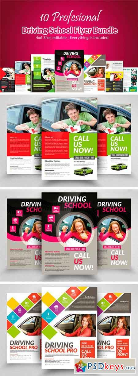 10 Learn Driving School Flyer Bundle 2316758