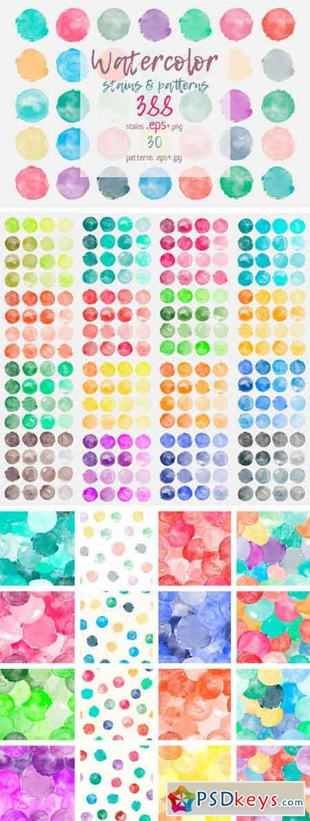 Big Set Watercolor Stains & Patterns 2294133