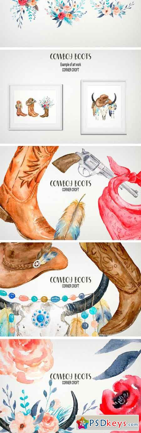 Watercolor Cowboy Boots Collection 2272625
