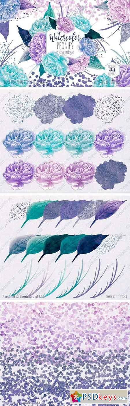 Watercolor Peony Flowers Teal Purple 2182471