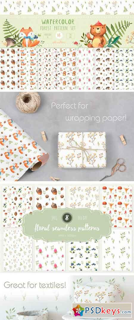 Watercolor Forest Pattern Set 2222579