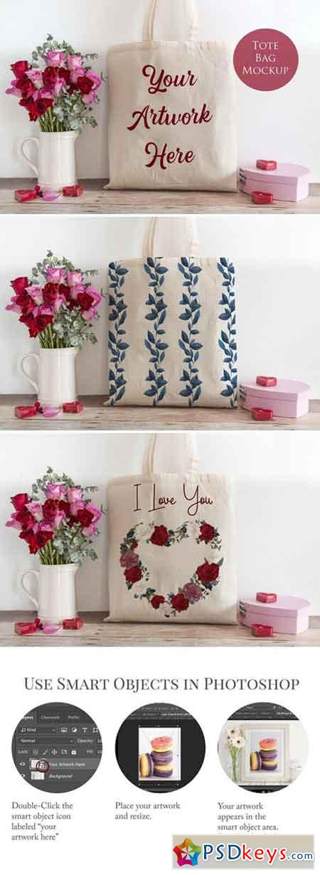 Tote bag mockup- Red & Pink roses 2278685