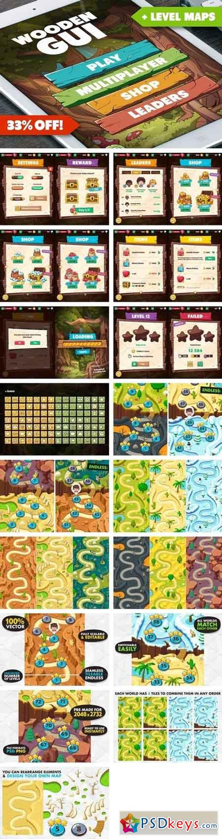 Wooden GUI and Game Level Map BUNDLE 1541783