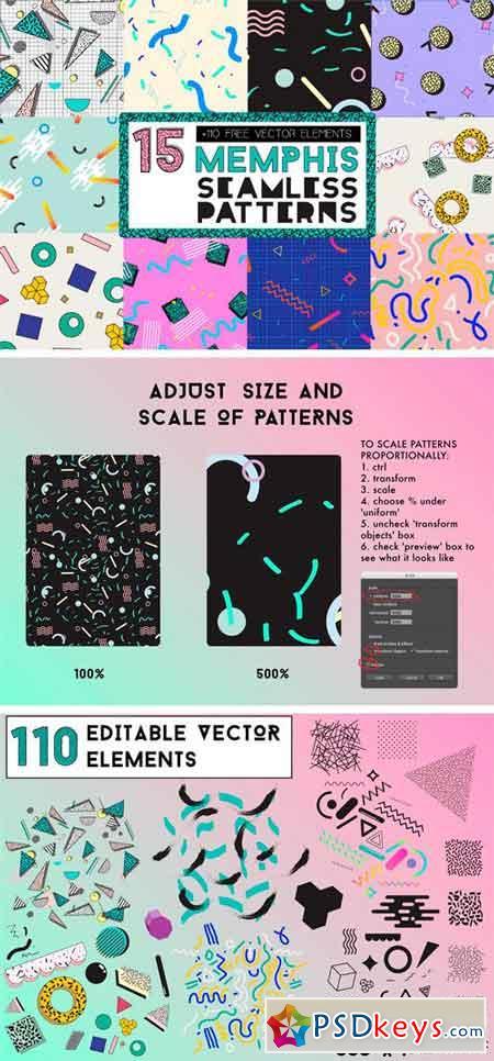 15 MEMPHIS Seamless Patterns 2181396