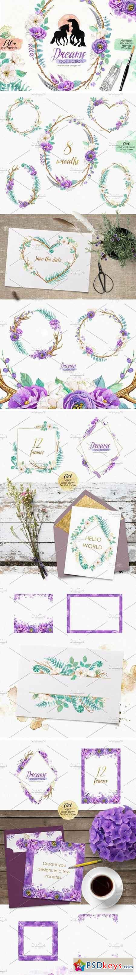 Watercolor design set - DREAMS 2278623