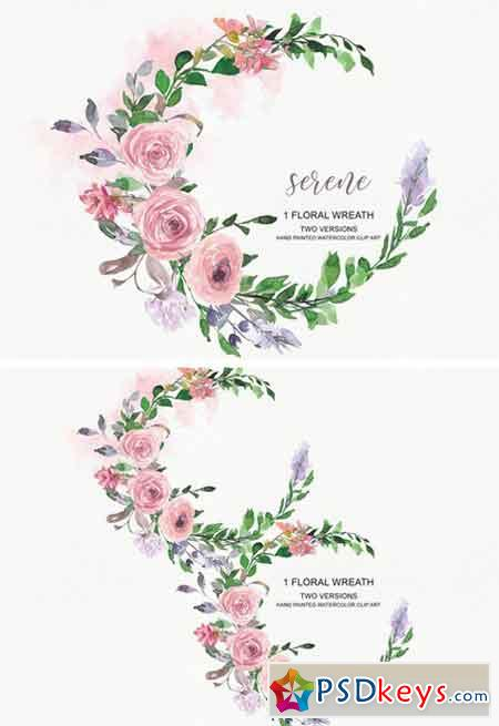 Watercolor Blush Rose Wreath Clipart 2301305