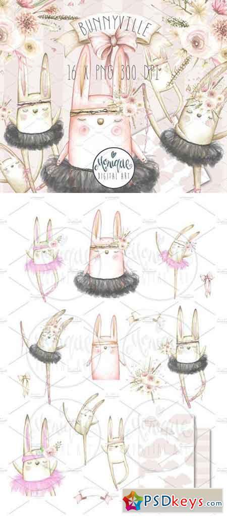 Boho Bunny Clipart, Watercolor 2301380
