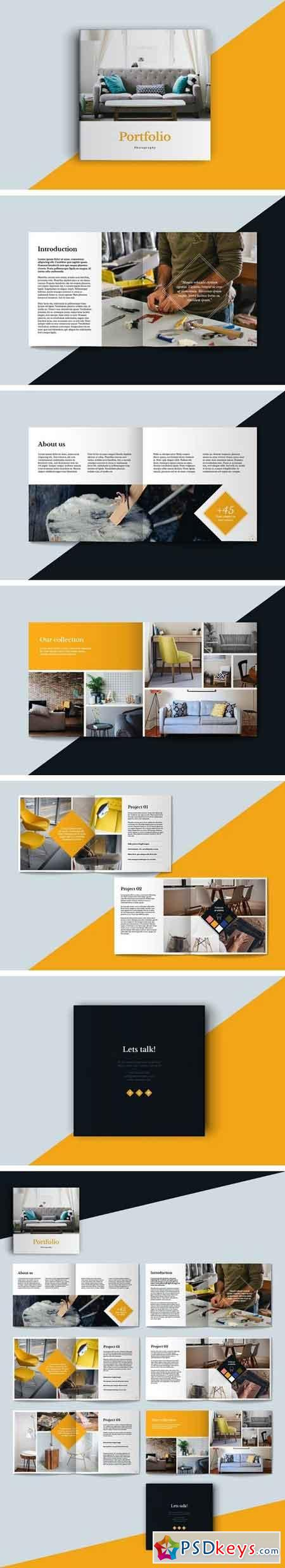 Square Portfolio Brochure Template Free Download - Portfolio brochure template