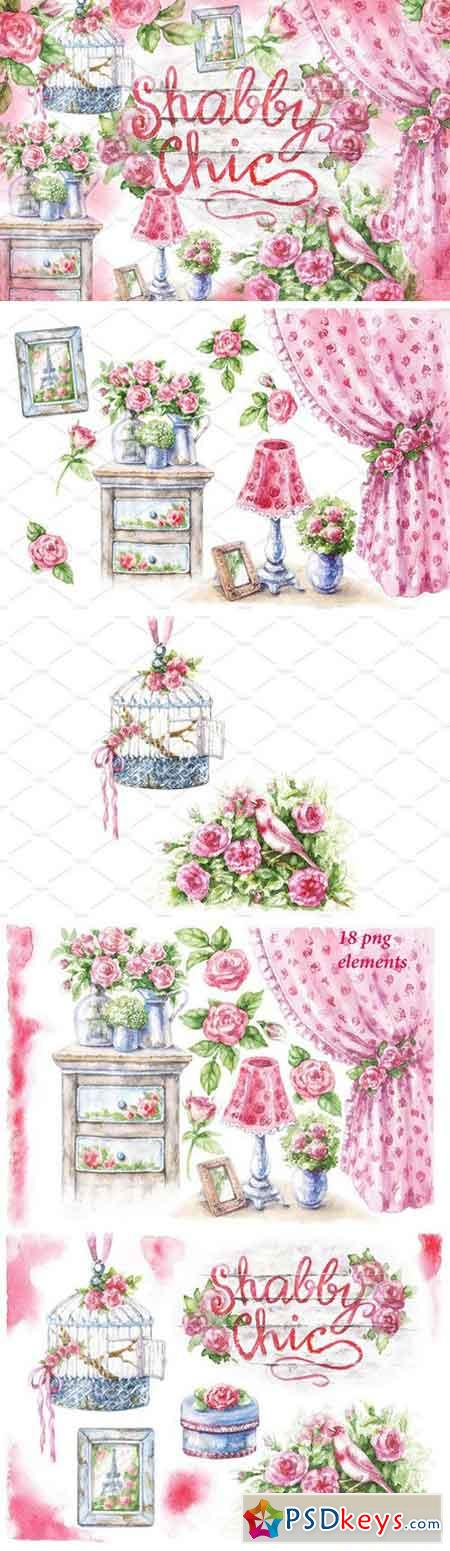 Watercolor Shabby Style Decor Items 2300926