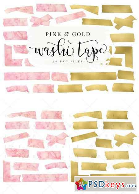 Pink Watercolor & Gold Washi Tape 1059658