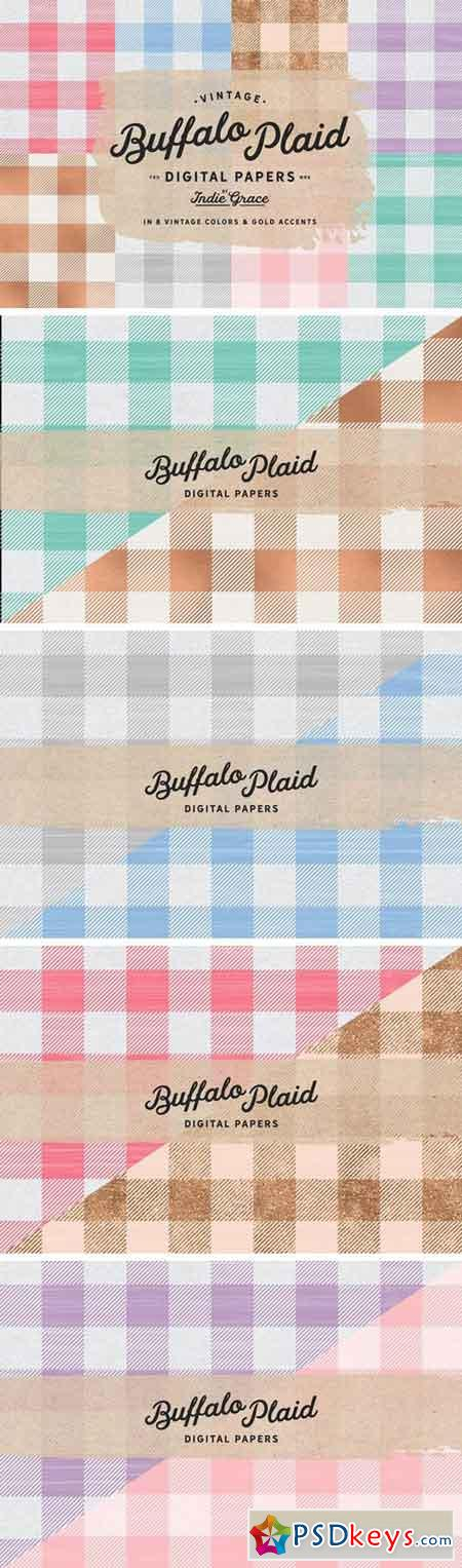 Pastel Plaid Vintage Digital Papers 1393025