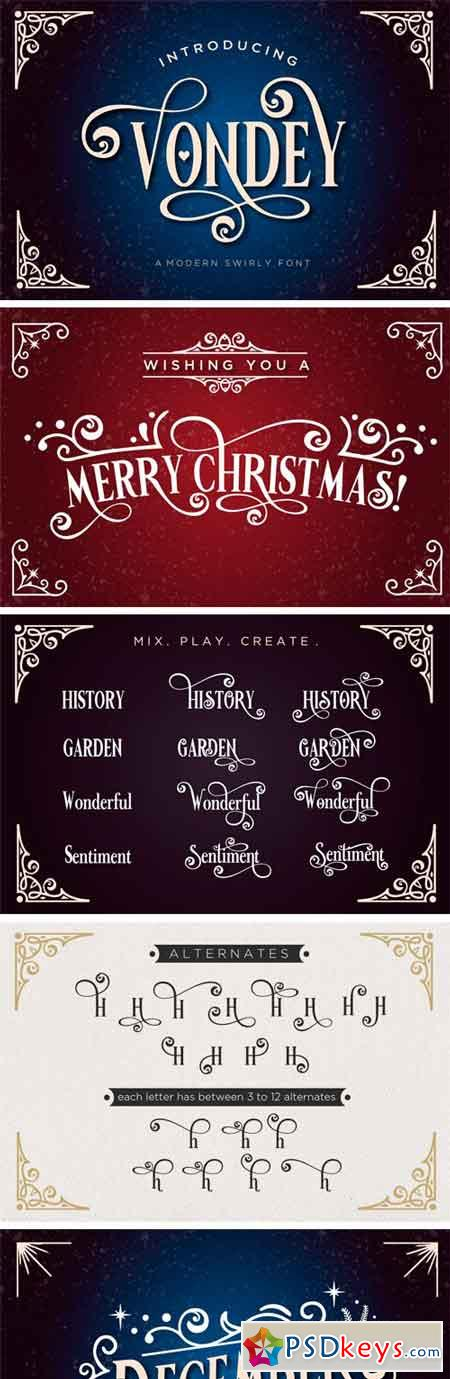 Vondey - Holiday Font & Ornaments 45510