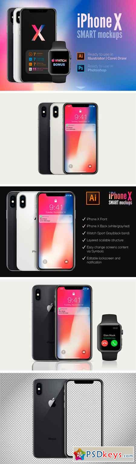 Apple iPhone X mockups (PSD+AI) 2283739